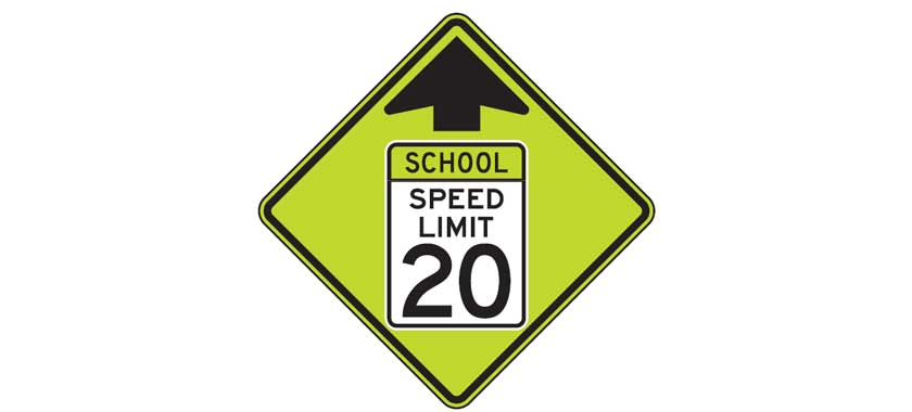 School zone speed limit ahead