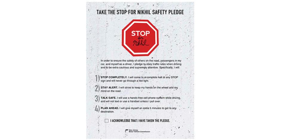 Stop for Nikhil Safety Pledge