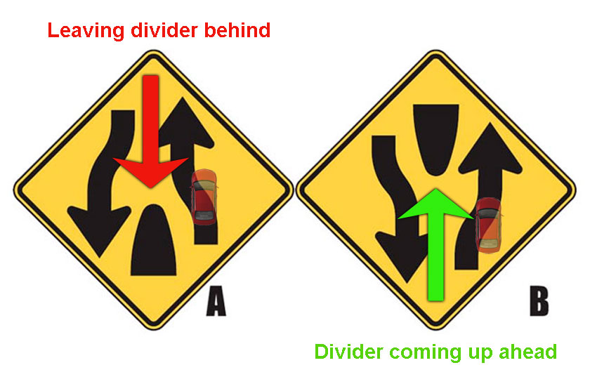 Learn to spot the difference of divided highway ahead and divided highway ends